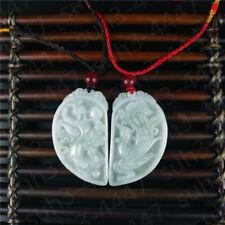 Certified Natural  Jadeite Emerald Gemstone Dragon Phoenix Couple Pendant  C2