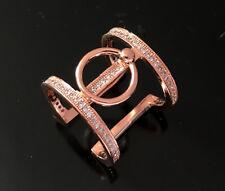 NEUF Conception deux bracelets Anneau Crystal pavée CZ Zircon 18 K Or Rose