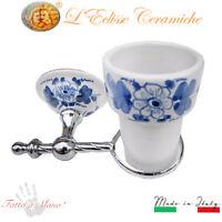 Arredo Bagno bicchiere Portaspazzolini da parete ceramica Vietri floreale Blu