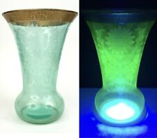Vintage Cambridge GREEN URANIUM DEPRESSION GLASS VASE Etched GOLD Gilt Rim 9.75""