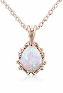 LOVELY 14k Rose Gold Opal Necklace for Women WOW Minimalist Pendant Chain Plated