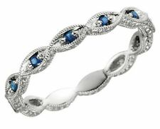 14k White Gold Blue Sapphire Anniversary Band Ring - Size 7