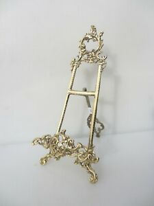 """Brass Easel Picture Stand Plate Holder Rack Display Antique French Rococo 15""""H"""