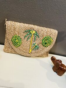 Embroidered Straw Clutch, Women Summer beach accessory, Large Braided Woven Bag