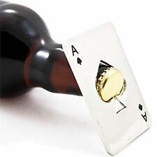 Silver Stainless Steel Poker Card Ace of Spades Bottle Soda Beer Cap Opener Tool