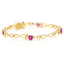 2.40 Ct Heart Shape Pink Mystic Topaz 18K Yellow Gold Plated Silver Bracelet