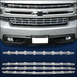 Chrome Grille Overlay (4 PCS) Compatible with 2019-2021 Chevy Silverado 1500