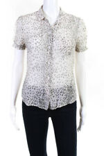 Equipment Femme Womens Short Sleeve Collared Button Down Green White Size S