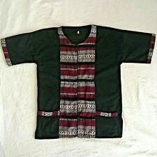 Thai Thailand 100% Cotton Shirt Short Sleeve Black Traditional Mens S Womens L