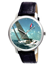 CLASSIC AMERICAS CUP SAILING SAILBOAT ART COLLECTIBLE 40 mm WRIST WATCH IN BRASS