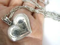 Sterling Silver Etched Heart Necklace Italy Puffy Long Twist Rope Chain 30""