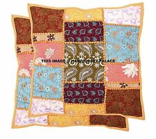 "Cushion Covers Indian Sari Patchwork Home Decor Handmade Pillow Case 16""x16"""