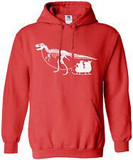 Threadrock Men's Dinosaur Pulling Santa's Sleigh Hoodie Sweatshirt Christmas