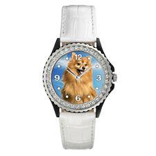 Grossspitz / Giant Germen Spitz Dog Ladies CZ Leather Band Wrist Watch SGP327