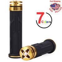 """Motorcycle 7/8"""" Hand Grips Handlebar Universal Diamond Bar End Gold For Yamaha"""
