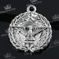 5x Tibetan Silver Eagle Badge Pendant Charm Beads Jewelry Finding 27x32mm