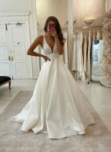 White A line Dress Lace Satin Wedding Dress Delivery In About 30 Days