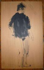 Derek Middleton encre sur papier signé art abstrait abstraction femme nu