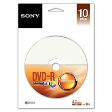 Sony 10 Pack DVD-R 16x Inkjet Printable Disc 120 min 4.7GB