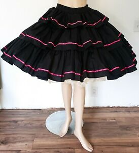 Vintage Black & Pink SQUARE DANCING TIERED CIRCLE SKIRT Call It Fancy sz XS/S