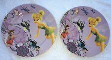 Lot 2 Disney Fairies Tinkerbell Ceramic Children's Plate Purple Kid Dish