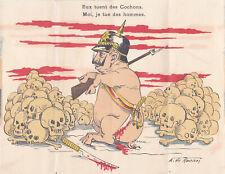 Guerre 14-18 WW1 Caricature  anti kaiser carte à déplier 2 cochons