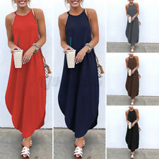 US STOCK Women Sleeveless Holiday Sundress Casual Gown Prom Maxi Long Dress Plus