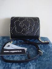 KARL LAGERFELD PARIS Flora Studded Black Leather Crossbody Bag NWT!!!MSRP$178