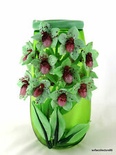 "Andrea Marcus Green ""Lady Slipper Orchid"" Studio Art Glass Vase - Signed Dated"
