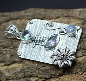 "925 Sterling Silver White Topaz & Moonstone Gemstone Jewelry Pendant Size-2"""