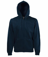 Blu Medium Fruit of The Loom Zip Felpa con cappuccio Uomo (deep Navy)