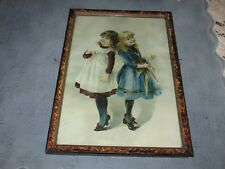 """Antique Victorian Picture Frame with a Print of 2 Girls, """"Who is The Taller?"""""""