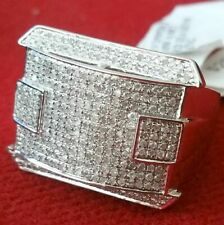 1.81 ct Round Simulated Diamond Men's Cluster Ring 14k White Gold Plated Silver