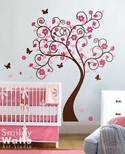 Kids Wall Decals Wall Sticker Tree Wall Decal Curly Flower Tree with Butterflies