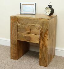 Mantis Light Natural Solid Mango 2 Drawer Bedside Lamp Table Mercers Furniture