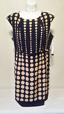 NWT $79.99 ILE NEW YORK Women's Blue & Brown Polka Dot Belted Dress Size 18