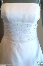 White Spaghetti Strap Chiffon Waist Blue Beads Bridal Gown Wedding Dress size 6