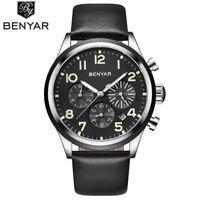 Luxury BENYAR Men Military Sport Quartz Wrist Watch 30M Waterproof Leather Strap