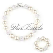 pearl White Chunky Beads Bubblegum Gumball Girls Jewlery Necklace&Bracelet Set