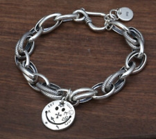 925 SOLID STERLING SILVER SMILE FACE LOVE COIN CHAIN CROSS HEART CHARM BRACELET