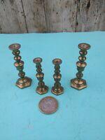 2 x Pair Of Miniature Vintage Brass Candlesticks Graduating Set