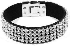Damen Armband Ketten Armreif Freundschaft Kristall Schwarz Strass Bettelarmband