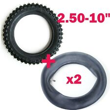 """2.50-10"""" Inch Front Knobby Tyre Tire + 2* Tube PIT PRO Trail Dirt PW50 PY50 Bike"""