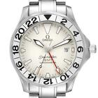 Omega Seamaster 300M GMT Great White Wave Dial Mens Watch 2538.20.00