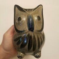 "Vtg Mexican Tonala Pottery Owl Bird Folk Art Hand-Painted Sculpture Ceramic 6"""