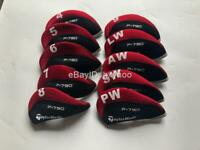 10PCS Golf Iron Headcovers for Taylormade P790 Club Covers Caps 4-LW Red&Black
