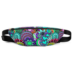 Abstract Floral Geometric Pattern Fun Summer Vacation Fanny Pack Waist Bag Purse