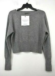 Theory Womens Gray Cashmere Knit Construction Sweater Relaxed Fit Pullover P