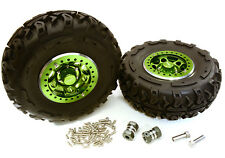 C27037GREEN 2.2x1.5-in. Alloy Wheel, Tires, 14mm OffSet Hubs for 1/10 Crawler
