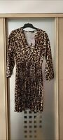 LADIES SHORT PLEATED LEOPARD PRINT SKATER DRESS BOOHOO SZ 14 to 16 NEW WITH TAGS